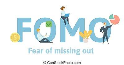 appartamento, concetto, fomo, mancante, lettere, icons., isolato, fondo., vettore, keywords, paura, bianco, fuori., illustration.