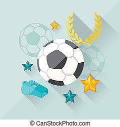 appartamento, concetto, football, illustrazione, disegno,...