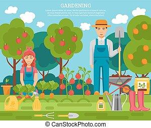 appartamento, concetto, giardinaggio, famiglia, colorito, manifesto, verdura, contadino, frutte, crescente, poste, attrezzi