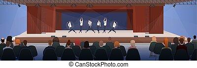 appartamento, concetto, gruppo, osservare, sedie, moderno, persone, salone, ballo, ballo, interno, esecuzione, seduta, orizzontale, tenda, palcoscenico
