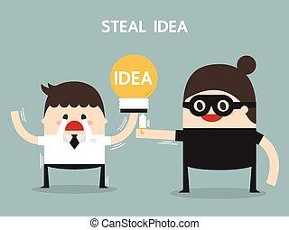 appartamento, concetto, idea affari, rubare, disegno