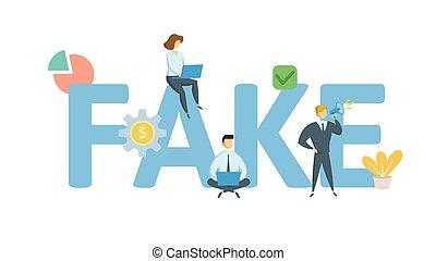 appartamento, concetto, illustration., isolato, icons., lettere, fondo., fake., vettore, keywords, bianco
