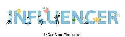 appartamento, concetto, illustration., isolato, icons., lettere, fondo., influencer., vettore, keywords, bianco