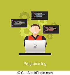 appartamento, concetto, illustration., lavorativo, brainstorming, concetti, programmazione, illustrazione, teamwork., disegno, codificazione, analisi, programmatore
