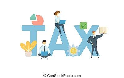 appartamento, concetto, illustration., tax., lettere, icons., isolato, fondo., vettore, keywords, bianco