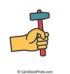 appartamento, concetto, illustrazione, isolato, mano, vettore, linea, icona martello