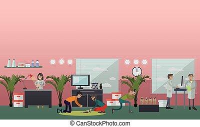 appartamento, concetto, illustrazione, ricerca, vettore, ...