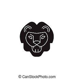 appartamento, concetto, illustrazione, ruggito, segno, leone, vettore, nero, icon.
