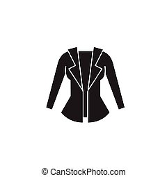 appartamento, concetto, illustrazione, segno, giacca, vettore, nero, icon., donne