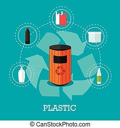 appartamento, concetto, immondizia, manifesto, riciclaggio, illustrazione, plastica, vettore, icons., riciclare, spreco, style.