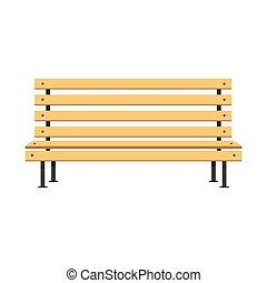 appartamento, concetto, legno, parco, illustrazione, panca, vettore, disegno