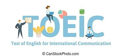 appartamento, concetto, lettere, illustration., communication., isolato, icons., fondo., vettore, keywords, toeic, inglese, internazionale, bianco