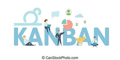 appartamento, concetto, lettere, illustration., kanban., isolato, icons., fondo., vettore, keywords, bianco