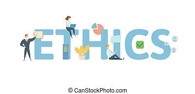 appartamento, concetto, lettere, illustration., persone, isolato, icons., fondo., vettore, bianco, ethics.