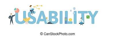 appartamento, concetto, lettere, illustration., usability., persone, isolato, icons., fondo., vettore, bianco