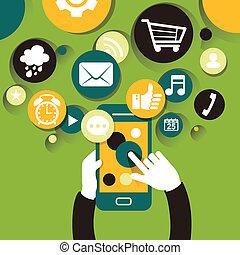 appartamento, concetto, mobile, apps, illustrazione, disegno