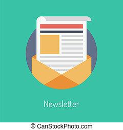 appartamento, concetto, newsletter, illustrazione