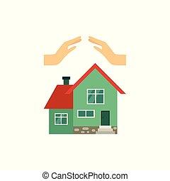 appartamento, concetto, set, casa, vettore, assicurazione
