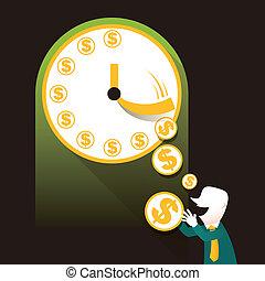 appartamento, concetto, soldi, illustrazione, disegno, tempo