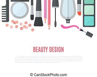 appartamento, concetto, truccare, illustrazione, vettore, cosmetica