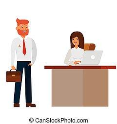 appartamento, concetto, ufficio, donna d'affari, isolato, illustrazione, vettore, fondo, intervista, uomo affari, bianco, cartone animato