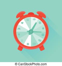 appartamento, concetto, -, vettore, gestione del proprio tempo