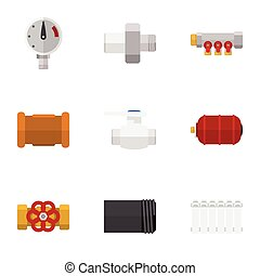 appartamento, conduttura, set, elements., termostato, valvola, include, connettore, anche, vettore, tubo, icona, objects., altro, tubo, ferro