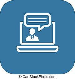 appartamento, consulente, affari, concept., linea, icon., design.