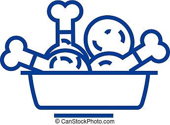 appartamento, contorno, icona, segno, concept., pollo, simbolo, vettore, linea, fritto, pasto, illustration.