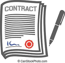 appartamento, contratto, icona