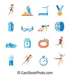 appartamento, correndo, icone