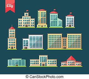 appartamento, costruzioni, progetto serie, icone