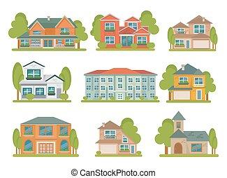 appartamento, costruzioni, set, icona