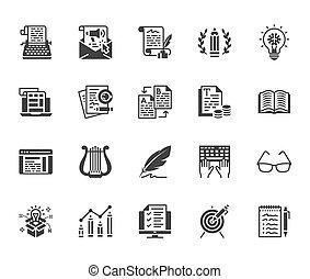 appartamento, creativo, signs., glyph, perfetto, silhouette, icone, media, set., scrittore, scrittura, posta elettronica, copywriting, dattilografia, pixel, macchina scrivere, contenuto, testo, newsletter, solido, idea, vettore, sociale, 64x64, illustrations.