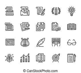 appartamento, creativo, signs., perfetto, icone, media, set., scrittore, scrittura, posta elettronica, copywriting, dattilografia, pixel, macchina scrivere, contenuto, colpi, editable, testo, newsletter, linea, 64x64., idea, vettore, magro, sociale, illustrations.