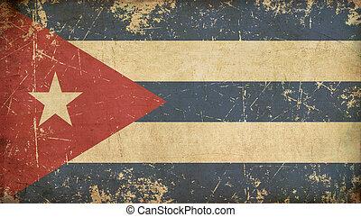 appartamento, cubano, invecchiato, bandiera