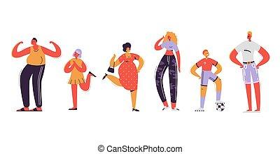 appartamento, daughter., famiglia, padre, figlio, illustrazione, cartoons., characters., vettore, genitori, madre, kids., felice