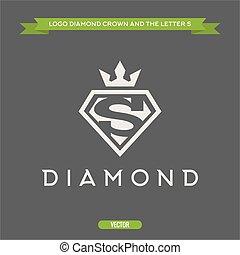appartamento, diamante, corona, s, vettore, lettera, logotipo