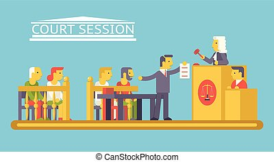 appartamento, difensore, corte, caratteri, ludge, giustizia, moderno, scena, illustrazione, vettore, disegno, avvocato, trendy, legge, imputato, sagoma