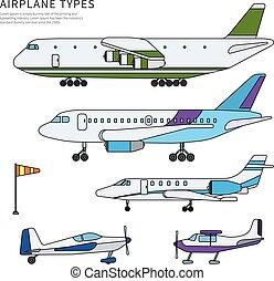 appartamento, differente, aeroplani, linea, isolato