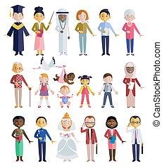 appartamento, differente, età, stile, persone