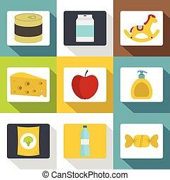 appartamento, differente, icone, set, stile, prodotti
