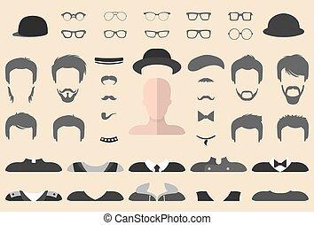 appartamento, differente, set, barba, creator., baffi, facce, occhiali, su, vettore, indossare, costruttore, maschio, vestire, style., icona