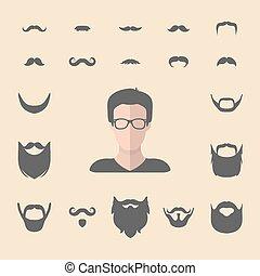 appartamento, differente, set, barba, creatore, grande, uomini, su, vettore, hipster, facce, costruttore, maschio, vestire, style., baffi, icona