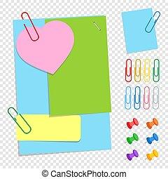 appartamento, differente, set, colorato, ufficio, semplice, forme, isolato, illustrazione, appiccicoso, bottoni, fondo., vettore, fogli, clips., trasparente