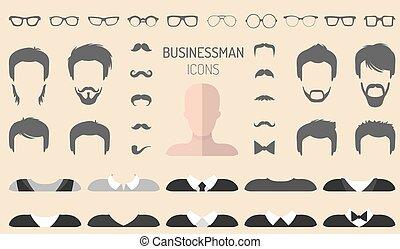 appartamento, differente, set, creatore, vestire, costruttore, occhiali, su, vettore, barba, facce, uomo affari, maschio, ecc., style., icona