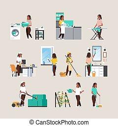 appartamento, differente, set, femmina, concetti, housecleaning, lavori domestici, casalinga, americano, pieno, collezione, caratteri, africano, lunghezza, cartone animato