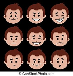 appartamento, differente, set, persone, positivo, icone, carattere, negativo, expressions., emotions., espressioni facciali
