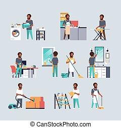 appartamento, differente, set, uomini, housecleaning, lavori domestici, collezione, concetti, americano, pieno, caratteri, africano, lunghezza, maschio, cartone animato