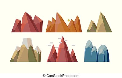 appartamento, differente, set, vectoe, roccioso, natura, mobile, gioco, elementi, fondo, montagne., paesaggio
